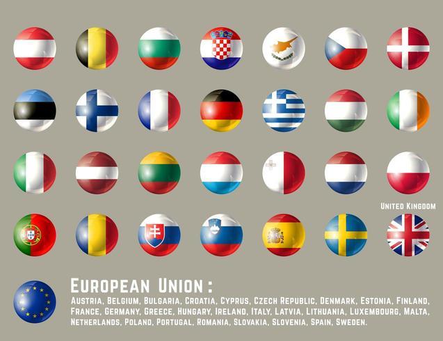 Bandiere rotonde dell'Unione Europea vettore