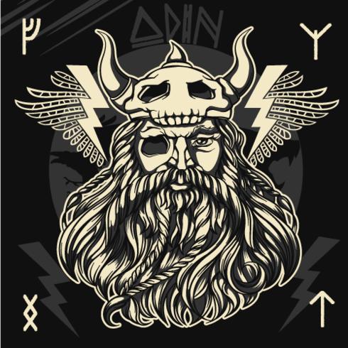 Il dio norvegese Odino vettore