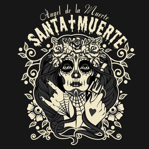 Stampa della maglietta di Halloween di Santa Muertos vettore