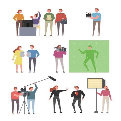 Set di caratteri per persone che filmano e registrano video vettore