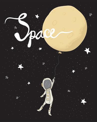 l'astronauta che tiene il pallone della luna piena nello spazio della stella galassia piatto vettore