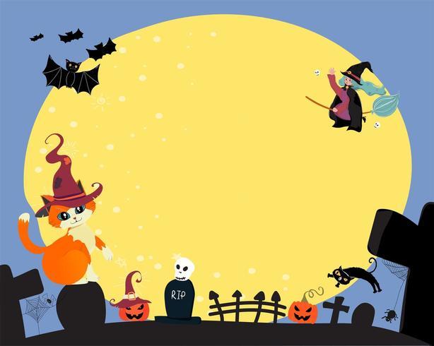 carino piatto vettoriale felice halloween una strega cavalca una fioritura magica, sorvolando la luna piena con spazio copia gatto e pipistrello