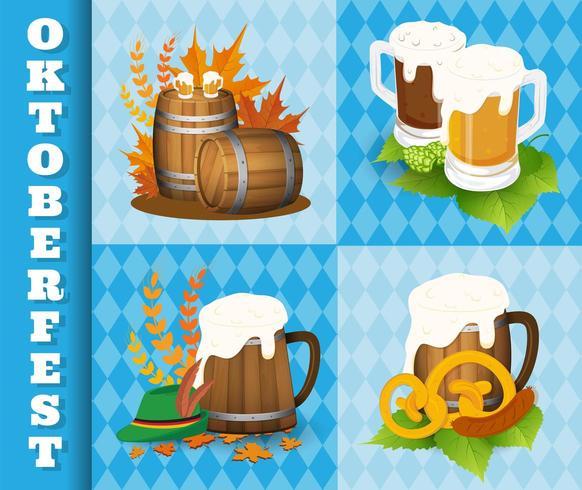 Icone e simboli di festival della birra di Oktoberfest vettore