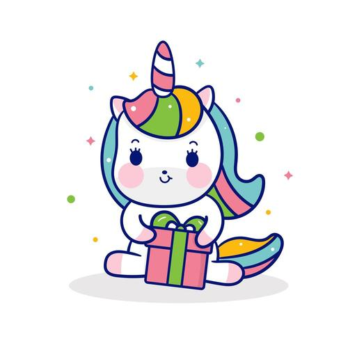 Simpatico unicorno pony cartoon abbraccio regali piccolo pony kawaii animal vettore