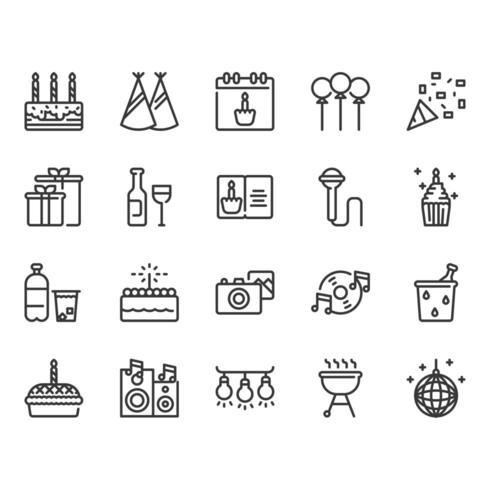 Set di icone di compleanno e festa vettore