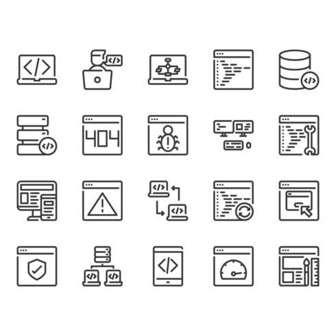 Set di icone di programmazione vettore