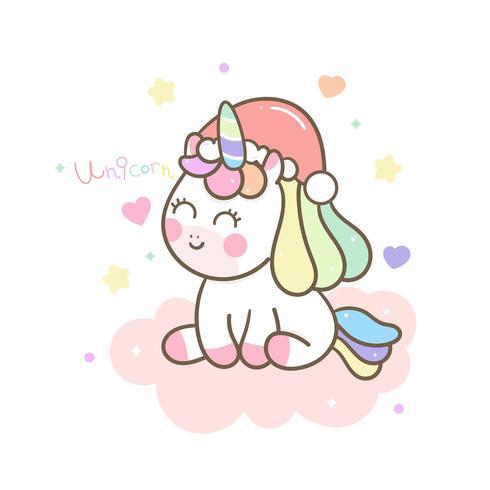 Simpatico personaggio di Natale unicorno piccolo pony vettore