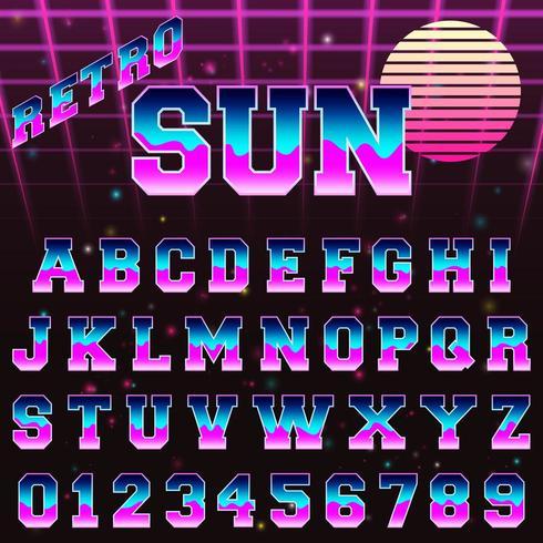 Modello di carattere alfabeto retrò anni '80 vettore
