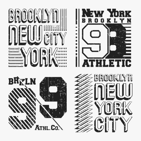 Set di timbri t-shirt vintage di Brooklyn New York vettore