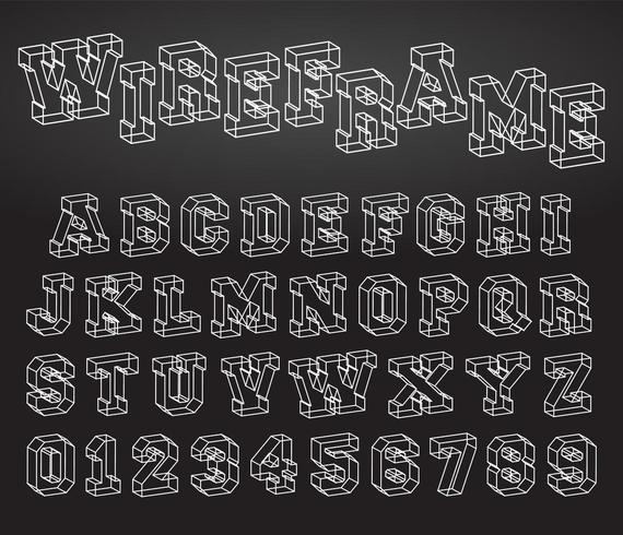 Design wireframe font alfabeto vettore