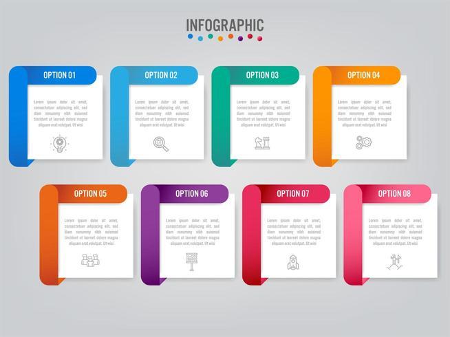 Modello di etichette di affari infografica con 8 opzioni vettore