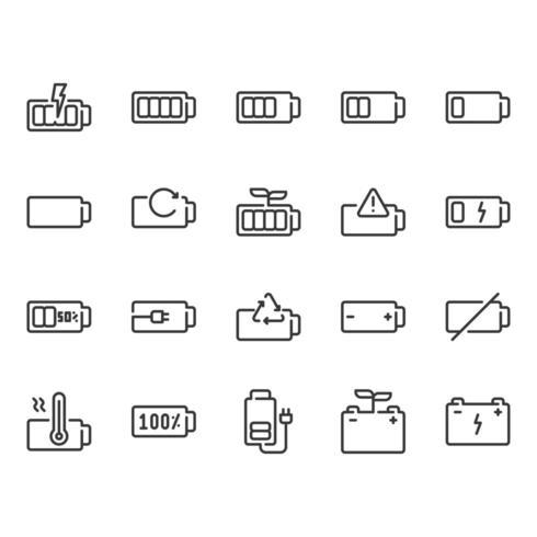 Set di icone della batteria vettore
