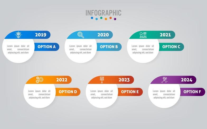 Modello di etichette di affari infografica con opzione vettore