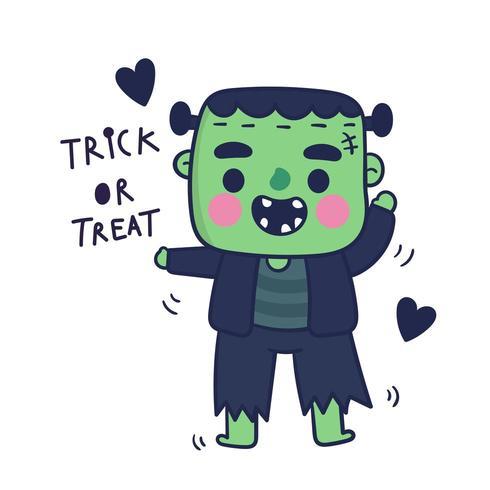 Simpatico cartone animato mostro di Frankenstein, personaggio di halloween vettore