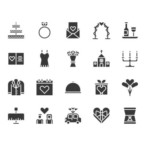 Set di icone relative a amore e matrimonio vettore