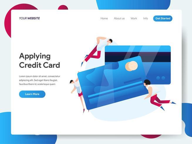 Modello di pagina di destinazione della carta di credito vettore