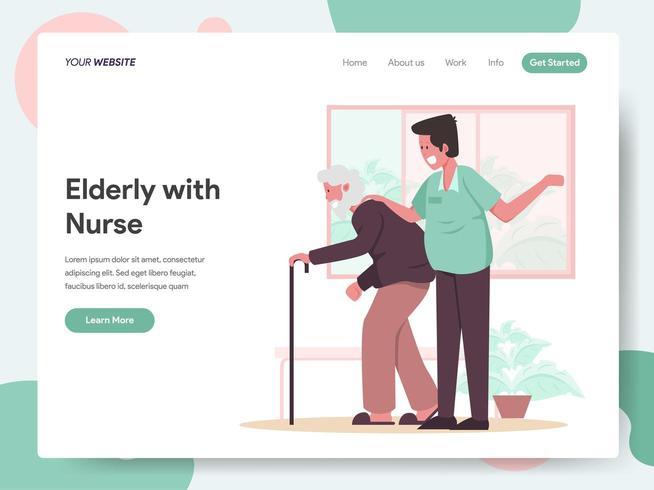 Modello di landing page di Elderly with Nurse vettore