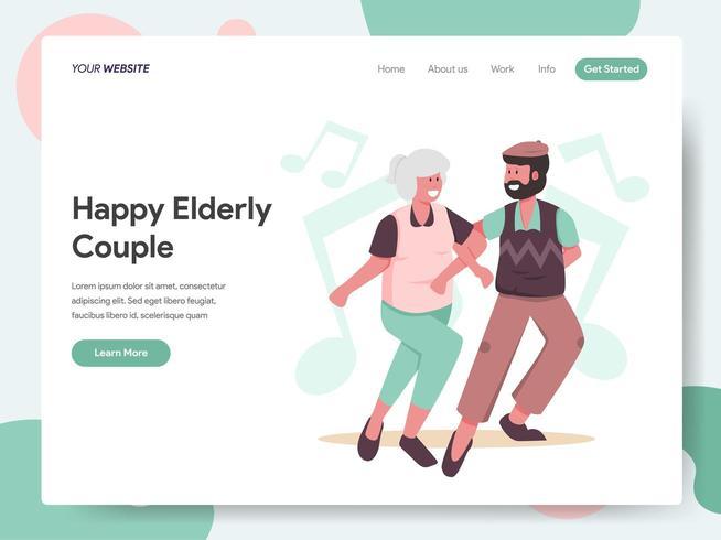 Modello di pagina di destinazione di Dancing felice delle coppie anziane vettore