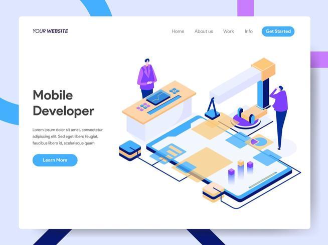 Modello di pagina di destinazione di Mobile Developer vettore
