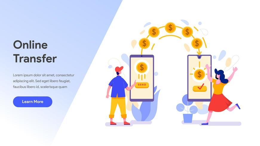 Modello di pagina di destinazione del trasferimento di denaro online vettore