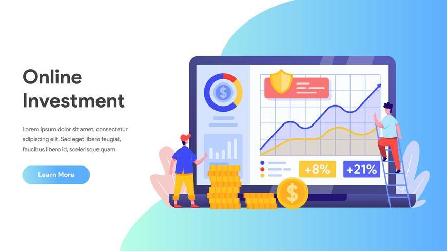 Investimento online con il concetto di laptop. vettore