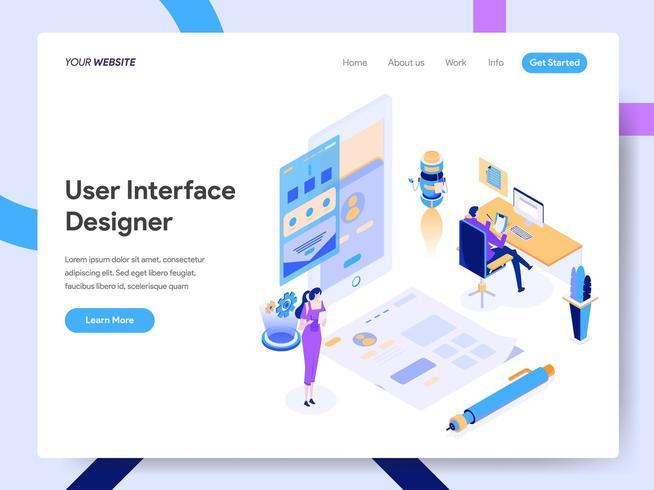 Modello di pagina di destinazione di User Interface Designer vettore