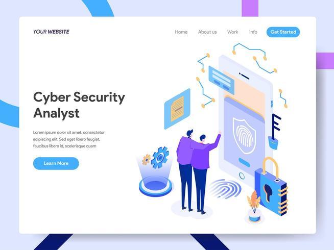 Modello di pagina di destinazione di Cyber Security Analyst vettore
