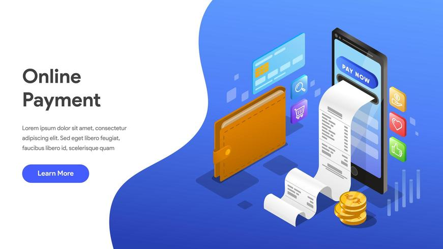Modello della pagina di destinazione del pagamento online vettore
