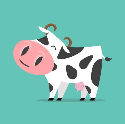 Mucca simpatico cartone animato vettore