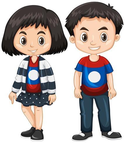 Camicia da portare della ragazza e del ragazzo con la bandierina del Laos vettore