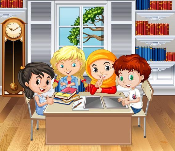 Bambini che studiano in aula vettore