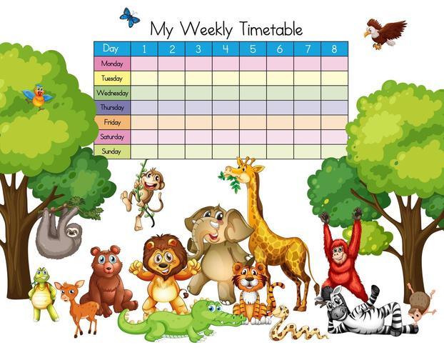Molti animali intorno al modello di tabella dei tempi vettore