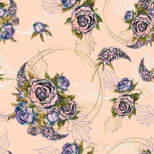 Motivo floreale senza soluzione di continuità Bouquet di rose peonie e lillà. Vettore. vettore