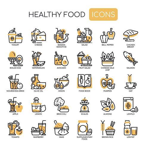 Icone monocromatiche di cibo sano linea sottile vettore