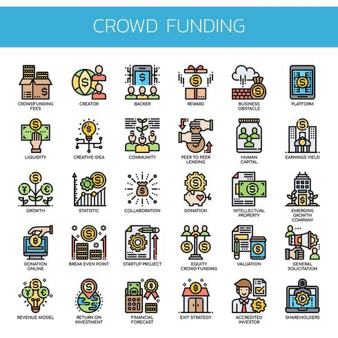 Icone di linea sottile di crowdfunding vettore