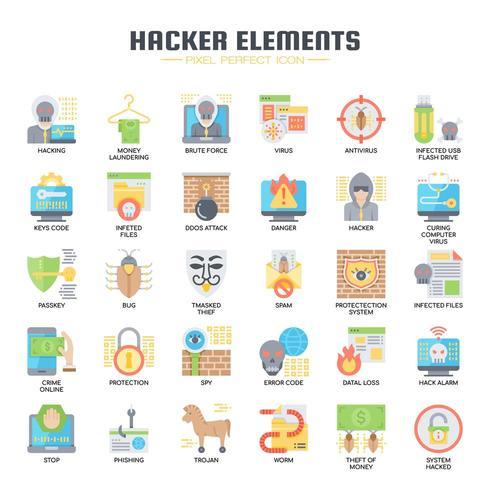 Icone piane di elementi Hacker vettore