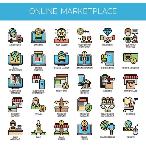 Icone di colore linea sottile del mercato online vettore