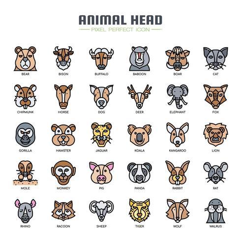 Icone di colore testa animale linea sottile vettore