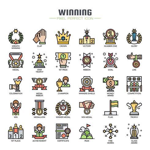 Elementi vincenti Icone di linea sottile vettore