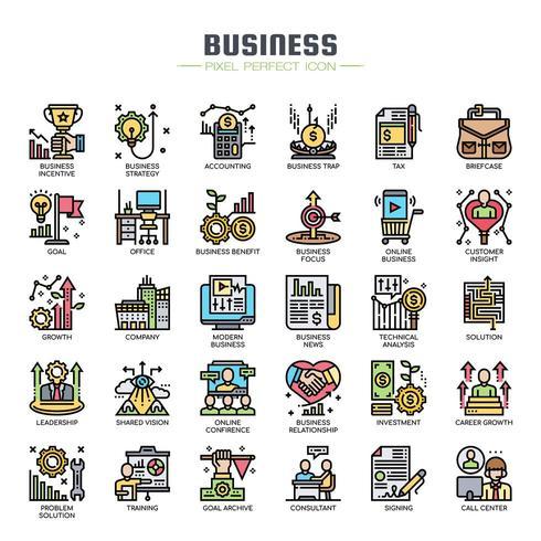 Icone di linea sottile di elementi di affari vettore