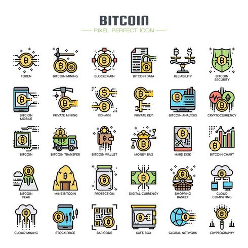 Icone di linea sottile elementi Bitcoin vettore