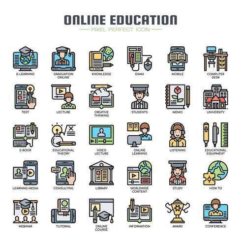 Icone di linea sottile di formazione online vettore