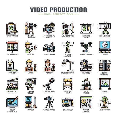 Produzione video Icone di linea sottile vettore