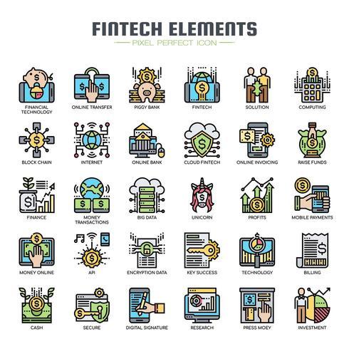 Icone di linea sottile colore elementi Fintech vettore