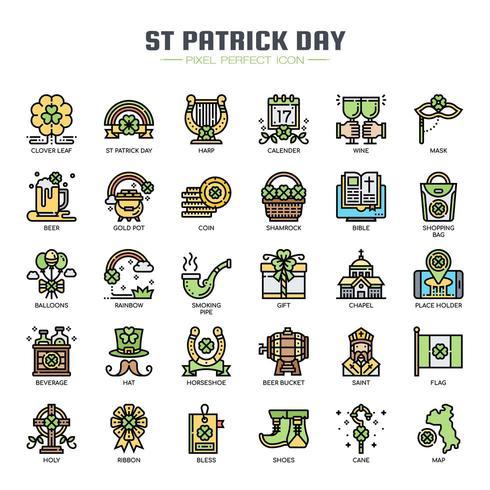 Icone di colore di linea sottile di giorno di San Patrizio vettore