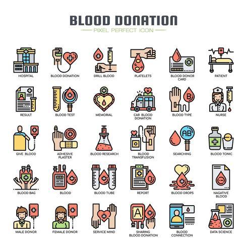 Icone di sottile linea di donazione di sangue vettore