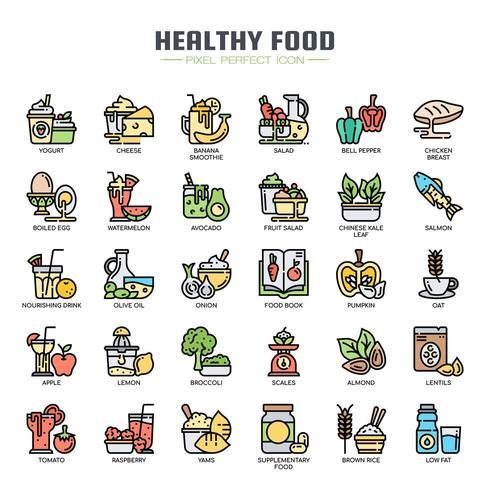 Icone di linea sottile di cibo sano vettore