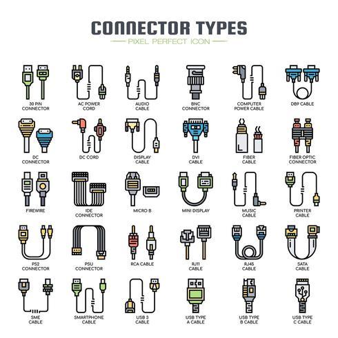 Tipi di connettore Icone di linea sottile vettore