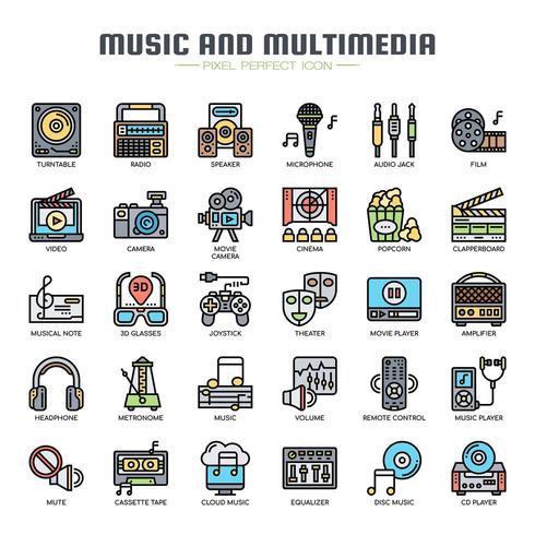 Icone di musica e multimedia linea sottile vettore