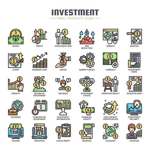 Icone di sottile linea di elementi di investimento vettore